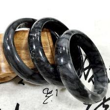 60mm Natural Jade Bangle Hand Carved Beautiful Black Fluttering flower Bracelet