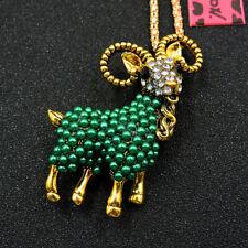 Hot Betsey Johnson Green Enamel Pearl Cute Goat Sweater Chain Necklace
