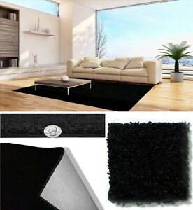 Coal Black 30 oz Soft and Durable Cut Pile Area Rug. Multiple sizes and shapes