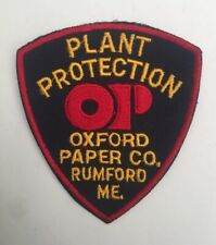 Oxford Paper Co Rumford, Maine Plant Protection old cheesecloth shoulder patch