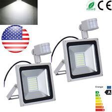 2X 50W PIR Motion Sensor Cool White LED Outdoor Security Lamp Flood Light 110V