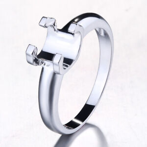 Sterling Silver 925 Prong Semi Mount Set Engagement Ring Round 5.5mm to 6.5mm