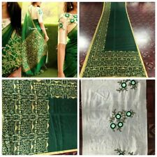 GORGEOUS GREEN Designer Cotton Silk Saree With EMBROIDERED Blouse