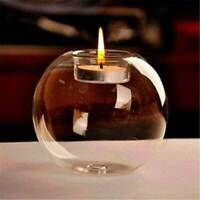 Round Tea Light Candle Holders Modern Clear Glass Design Candlestick Party Decor