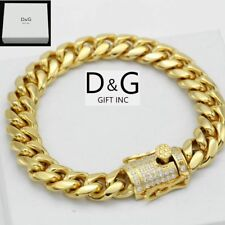 "NEW DG Gift Inc 8.5"" Men's Stainless Steel Gold Miami Cuban Curb Bracelet + Box"