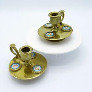 Antique Bronze Candlesticks w/ Hand Painted Medallions w/ Cherubs, Handles NR