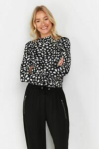 Wallis Womens Multi Colour Printed High Neck Top Shirt Blouse Long Sleeve