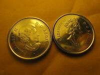 Canada 2003 5 Cents Coins 2 Varieties Old & New Effigy Of Queen .