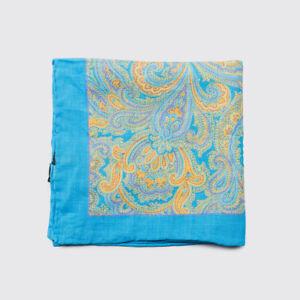 Bloomingdales Linen Pocket Square Electric Cobalt Blue Paisley