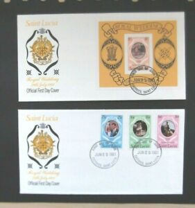 St Lucia-1981-2 x Charles & Diana Royal Wedding FDC's-Castries