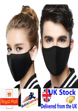 Face Mask Protective Covering Mouth Washable Reusable Black UK
