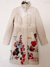 Manteau Blanc Motifs et Broderies Colorés Desigual T. 36