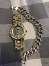 Iced Out Gold Hip Hop Watch And Bracelet