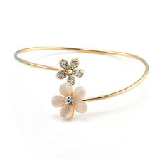 Women Gold Flower Rhinestone Crystal Opal Bangle Cuff Bracelet Jewelry Gift A8Q7