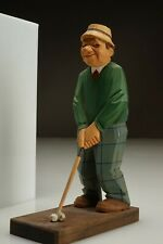 1960s Original Vintage Lars Trygg Hand Carved Signed Golfer Figure Peer Sweden
