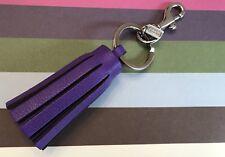 EUC Coach Leather Tassel Key Fob Chain Keychain Charm 62376 Purple Ultraviolet