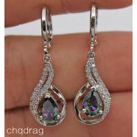Women Hollow 18K White Gold Filled - MYSTICAL Rainbow Topaz Waterdrop Earrings