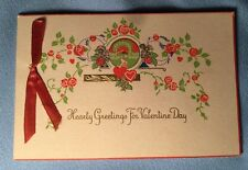 Vintage Darling Germany Valentine Day Card: Saxony - Gold + Ribbon-trimmed 2970
