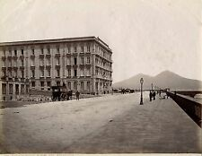 NAPOLI, ITALY - HOTEL ROYAL DES ETRANGERS & ORIGINAL ca 1880's ALBUMEN PRINT