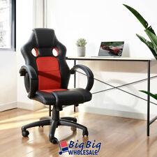 Gaming Racing Leather Office Chair Swivel Ergonomic Computer Desk Seat Blk/Red