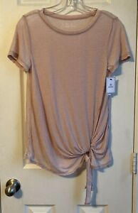 Susina Pink Cotton Blend Short Sleeve Top w/ Bottom Side Tie Size XS Petite NWT