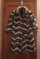 Vintage Retro Mink multicolor tan long fur coat size small s