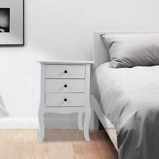Retro White Bedside Table 3 Drawers Chest Side Table Nightstand Side Bedroom