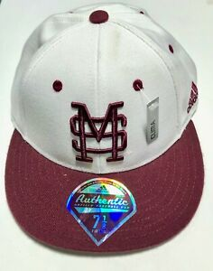 adidas Mississipi State Bulldogs Dawgs ClimaLite Fitted Cap TK50K White sz 7 1/8