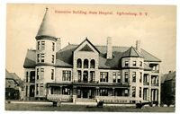 Ogdensburg NY -EXECUTIVE BUILDING AT STATE HOSPITAL- Postcard Insane Asylum