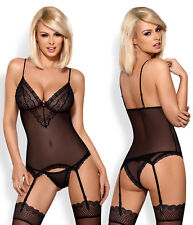 OBSESSIVE 820 Luxury Sheer Corset, Attached Garter Straps and Matching Brief Set