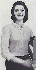 Vintage Knitting PATTERN to make Mandarin Collar Shorty Jacket MandarinJacket