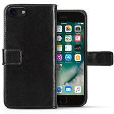 Apple Iphone 8 Estuche De Cuero Genuino Real Slim Folio Funda tipo Billetera con Base de identificación con foto