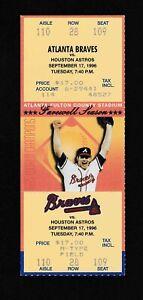 1996 HOF John Smoltz Win #22 CY season full ticket stub Atlanta Braves Astros