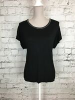 Womens MISS CAPTAIN TREND Black Short Sleeve Thin T-Shirt Top Size 6