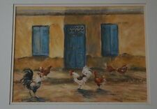 Lynette Singers Kiwi Listed Artist Pastel Chickens Eating by the Evening Light