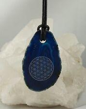 Colgante Disco de Ágata Azul Teñido con flor de la vida perforadas con LB A5