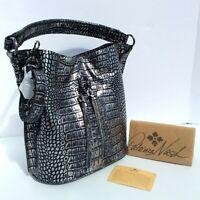 Patricia Nash Otavia Bucket Bag Croco Leather Metallic Silver Black New $229