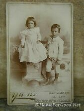Antique CDV Photo VICTORIAN GIRL & BOY SIBLINGS in St. Louis