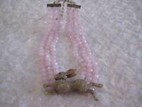 """HEIDI DAUS """"The Honey Bunny"""" 3-Row Sim.Rose Quartz Beaded Necklace(Orig.$299.95)"""