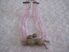 "HEIDI DAUS ""The Honey Bunny"" 3-Row Sim.Rose Quartz Beaded Necklace(Orig.$299.95)"