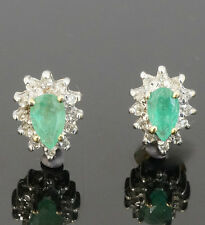 9Carat Gold Emerald and Diamond Halo Stud Earrings with Bufferflies (6x8mm)
