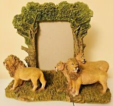 """Beautiful 3D """"Lions in Jungle"""" Wong's Picture Frame Decor, Holds 4"""" x 6"""", Heavy"""