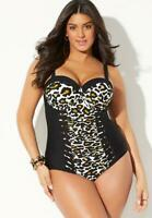 $128 NWT SWIM SEXY Sz 8 Cut Out Mesh Leopard Underwire SWIMSUITS FOR ALL 1553