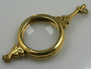 Vintage antique gold tone maginification glass pendant locket