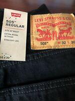 Levis Jeans Mens 505 Regular 100% original  32 x 30 Colors Black