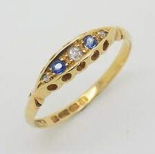 Victorian Style 18ct Yellow Gold Diamond & Sapphire Ring Size P | Free Delivery