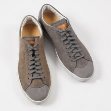 Imperfect Santoni Gray Grained Leather and Suede Sneakers US 9 Shoes