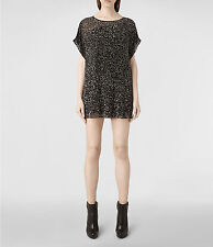 "*NEW ""ALLSAINTS"" GUNMETAL ""STIPPLE TEE DRESS"" SIZE ""2""(US) w TAGS ATTACHED!!!"