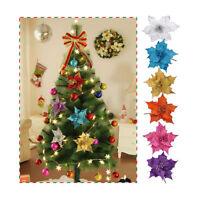 10pcs Glitter Hollow Wedding Party Christmas Flowers Xmas Tree Decorations Decor