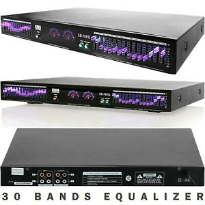 EMB EQ76 19'' Rack Mount Dual 15 Band 4 Input Stereo Graphic Equalizer Pro DJ